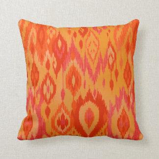 Boho Chic orange saffron red Ikat Tribal Tapestry Cushion