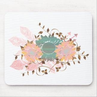 Boho Chic Pastel Sunflower Vine Mouse Mat