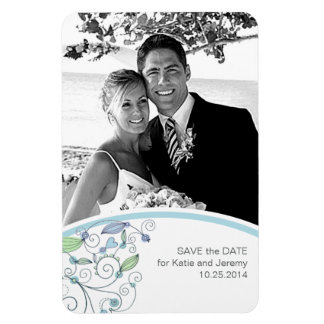 BOHO Chic Photo Save the Date Blue Budget Rectangular Magnets