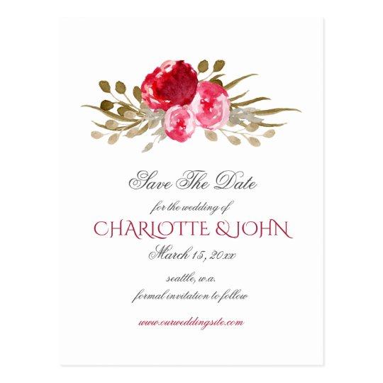 boho chic pretty watercolor floral save the date