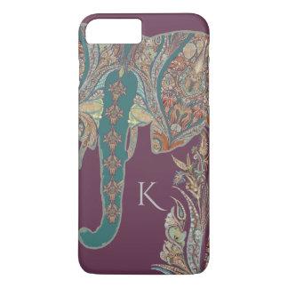 BOHO Chic Purple Kashmir Paisley Pattern Elephant iPhone 7 Plus Case