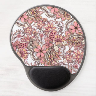 Boho chic red brown floral handdrawn pattern gel mouse mat