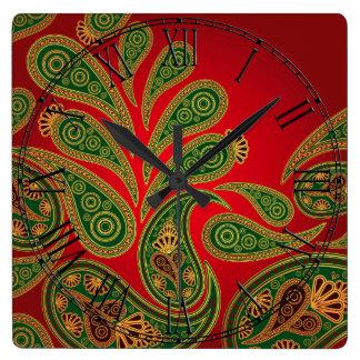 Boho Chic Retro Hippy Paisley Square Wall Clock