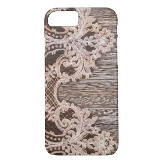 boho chic Rustic Western Country Barn Wood Lace iPhone 8/7 Case