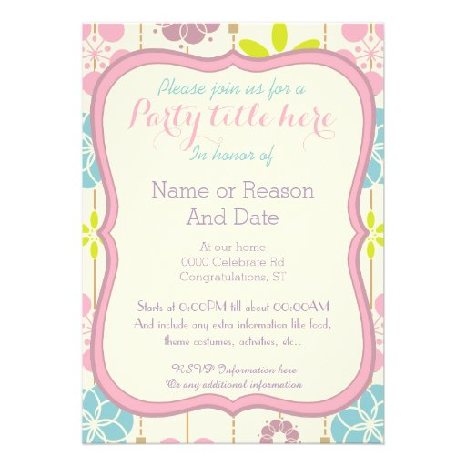 boho chic spring look floral any purpose party personalized invitation
