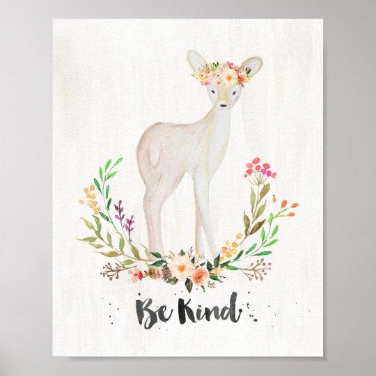 Boho Chic Watercolor Deer, Be Kind - Wall Art