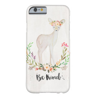 Boho Chic Watercolor Deer, Floral Crown, Be Kind Barely There iPhone 6 Case