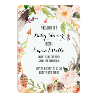 Boho Chic Watercolor Floral and Feathers Wreath Card