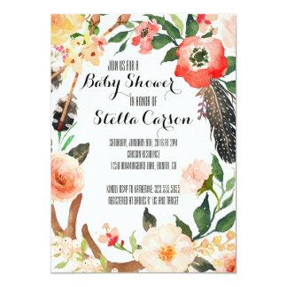 Boho Chic Watercolor Floral Wreath Invitation