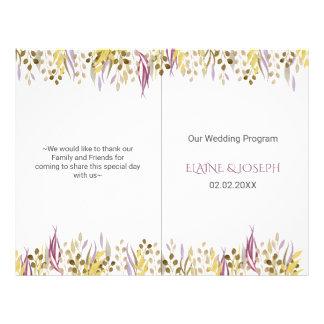 boho chic watercolor foliage wedding programs 21.5 cm x 28 cm flyer
