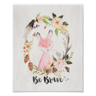 Boho Chic Watercolor Fox, Be Brave - Wall Art