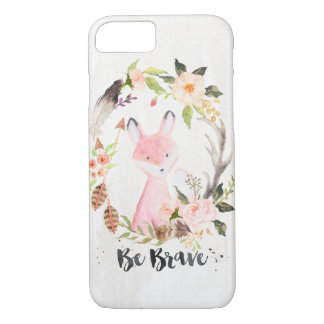 Boho Chic Watercolor Fox, Floral Wreath, Be Brave iPhone 7 Case