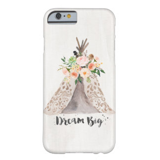 Boho Chic Watercolor Teepee and Floral Arrangement Barely There iPhone 6 Case