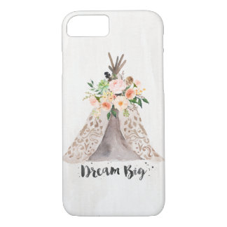 Boho Chic Watercolor Teepee and Floral Arrangement iPhone 7 Case