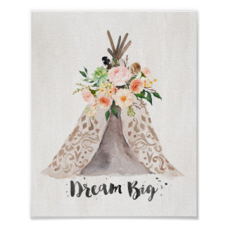 Boho Chic Watercolor Teepee and Floral - Wall Art