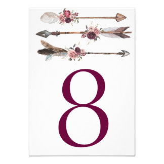 Boho Chic Wedding Table Number