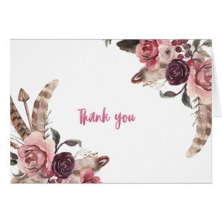 Boho Chic Wedding Thank You Card