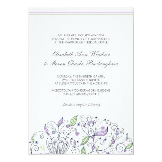 BOHO Chic Whimsical Garden Wedding Purple 13 Cm X 18 Cm Invitation Card