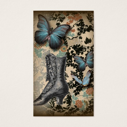 boho chicfloral butterfly vintage Victorian Shoe Business Card