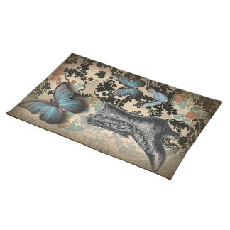boho chicfloral butterfly vintage Victorian Shoe Placemat