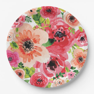 Boho Colorful Floral Watercolor | Paper Plate 9 Inch Paper Plate
