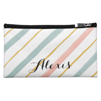 Boho Coral and Teal Stripes Cosmetic Bags