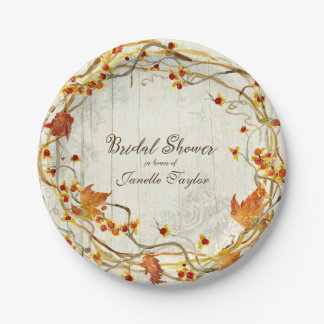 Boho Country Rustic Fall Autumn Bridal Shower 7 Inch Paper Plate
