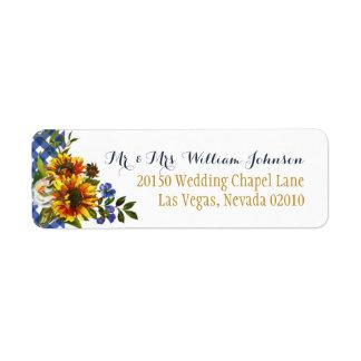 Boho Country Sunflower Bouquet Wedding Label