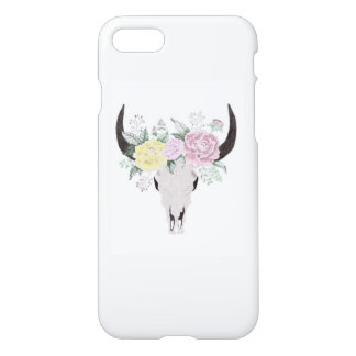 Boho Cow Skull With Flowers iPhone 8/7 Case