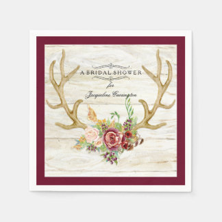 BOHO Deer Antler Fall Watercolor Rose Floral Wood Paper Napkin