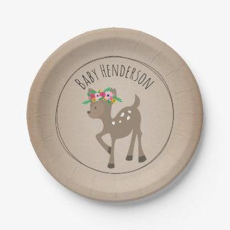 Boho Deer Cardstock Inspired Custom Baby Shower Paper Plate