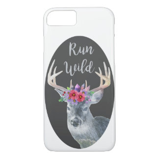 Boho Deer Flower Crystal Crown Run WIld Phone Case