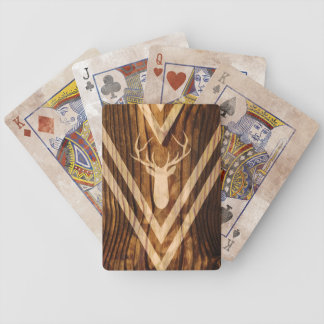 Boho deer on rustic wood bicycle playing cards