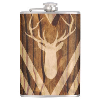Boho deer on rustic wood hip flask
