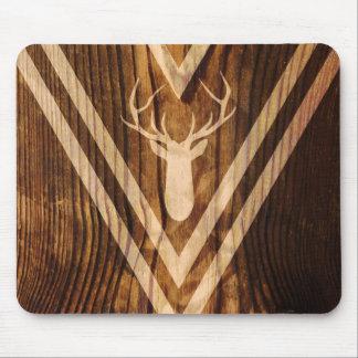 Boho deer on rustic wood mouse pad