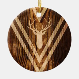 Boho deer on rustic wood round ceramic decoration