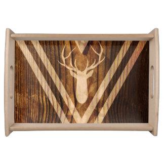 Boho deer on rustic wood serving tray
