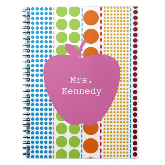 Boho Dots Pink Apple Teacher Notebook