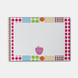 Boho Dots Pink Apple Teacher Post-it Notes