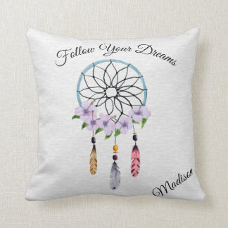 Boho Dream Catcher Floral Flower Personalized Name Cushion