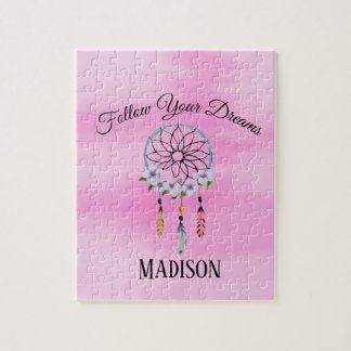 Boho Dream Catcher Floral Flower Personalized Name Jigsaw Puzzle