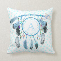 Boho Dream Catcher Tribal Monogram Cushion