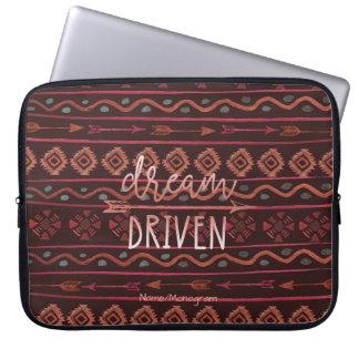 Boho Dream Driven Tribal Pattern, Personalized Laptop Sleeve