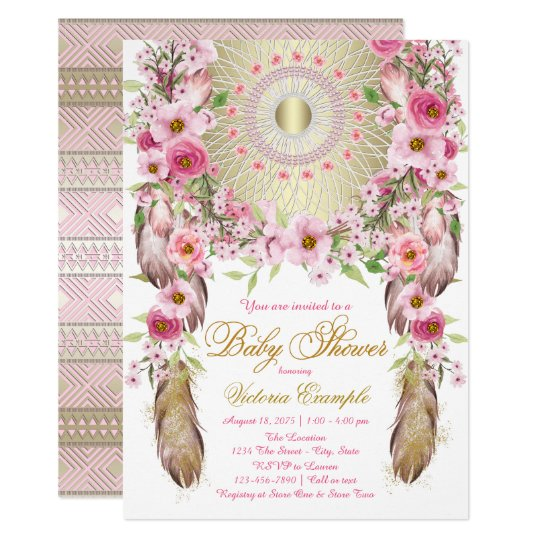 Boho Dreamcatcher Baby Shower Invitations