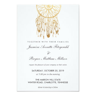 Boho Dreamcatcher Faux Gold Foil Tribal Wedding Card