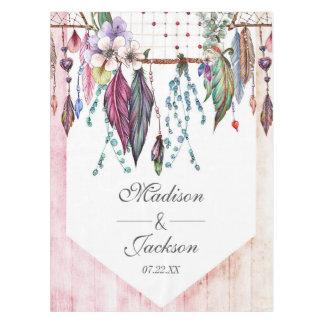 Boho Dreamcatcher & Feathers Pink Wedding Monogram Tablecloth