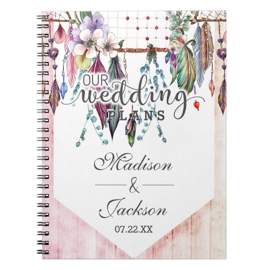 Boho Dreamcatcher & Feathers Pink Wedding Planner Notebooks