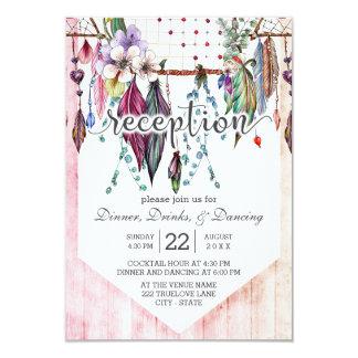 Boho Dreamcatcher & Feathers Wedding Reception Card