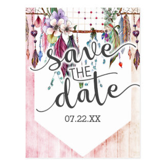 Boho Dreamcatcher & Feathers Wedding Save the Date Postcard
