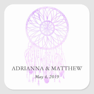 Boho Dreamcatcher Lavender Chic Tribal Wedding Square Sticker